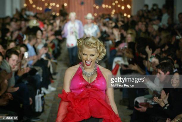 Anna Nicole Smith walks the runway at the Heatherette fashion show on February 12, 2004 during Olympus 2004 Fashion Week, in New York City.