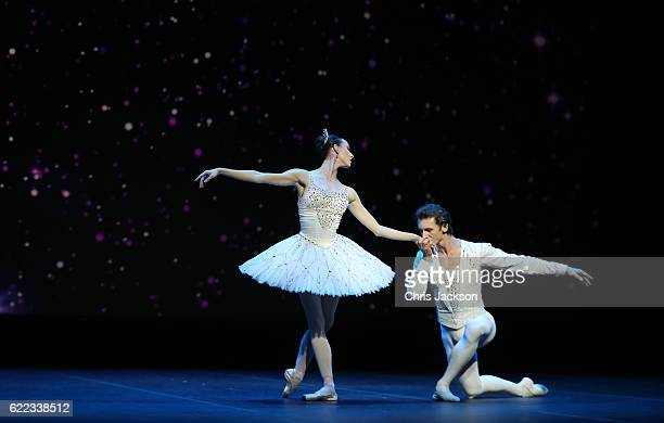 Anna Nikulina and Artem Ovcharenko of the Bolshoi Theatre Moscow perform a private ballet performance at the National Theatre on day 4 of a Royal...