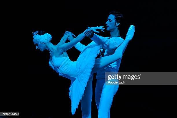 Anna Nikulina as Odette/Odile and Ruslan Skvortsov as Prince Siegfried in the Bolshoi Ballet's production of Swan Lake choreographed by Yuri...