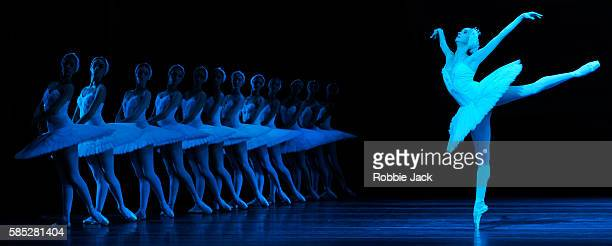Anna Nikulina as Odette/Odile with artists of the company in the Bolshoi Ballet's production of Swan Lake choreographed by Yuri Grigorovich after...