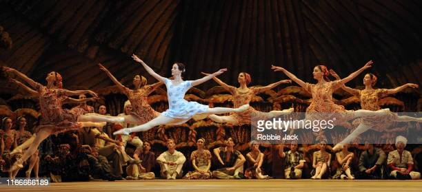 Anna Nikulina as Zina with artists of the company in The Bolshoi Ballet's production of Alexei Ratmansky's The Bright Stream at The Royal Opera House...