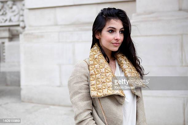 Anna Nooshin executive editor of nsmbl wearing Dennis thm jacket brooms bazaar top at Paris Fashion Week Autumn/Winter 2012 womenswear shows on March...