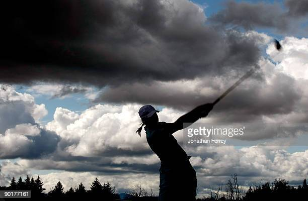 Anna Nordquist tees off on the 13th hole during the second round of the Safeway Classic on August 29 2009 on the Ghost Creek course at Pumpkin Ridge...