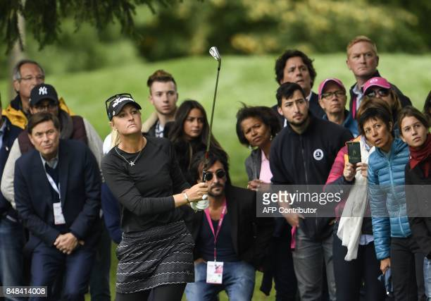 Anna Nordqvist from Sweden competes to win the Evian Championship on September 17 2017 during in the French Alps town of EvianlesBains a major...
