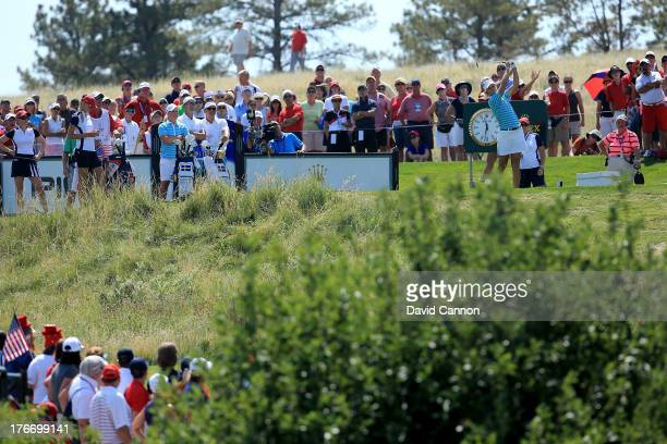 Anna Nordqvist of Sweden and the European Team hits her tee shot at the 17th hole which she holed in one which meant that she and her partner Carolin...