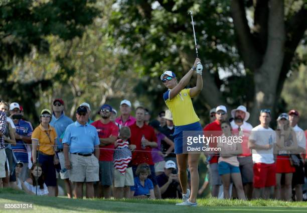 Anna Nordqvist of Sweden and the European Team plays her second shot on the 16th hole in her match with Jodi Ewart Shadoff against Lizette Salas and...