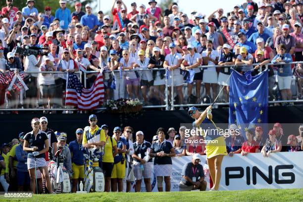 Anna Nordqvist of Sweden and the European Team plays her tee shot on the first hole in her match against Lexi Thompson during the final day singles...