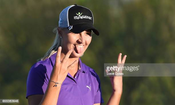 Anna Nordqvist of Sweden celebrates after winning the Bank of Hope Founders Cup at Wildfire Golf Club at the JW Marriott Desert Ridge Resort on March...