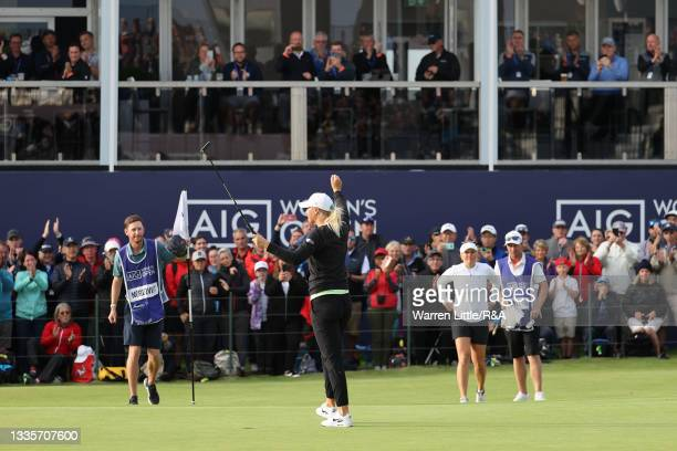 Anna Nordqvist of Sweden celebrates on the eighteenth green after putting in to win the AIG Women's Open during Day Four of the AIG Women's Open at...