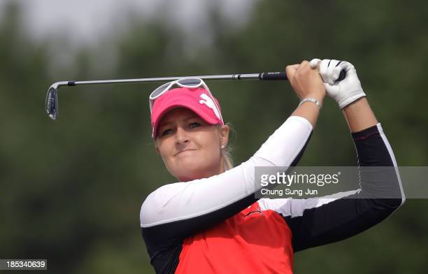 Anna Nordqvist of Sweden hits a tee shot during the second round of LPGA KEBHanaBank Championship at Sky 72 Golf Club Ocean Course on October 19 2013...