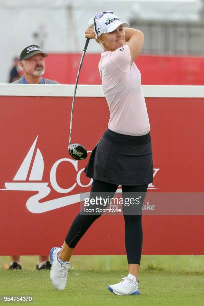 Anna Nordqvist of Sweden hits her opening tee shot on during the First Round of the Volunteers of America Texas Classic on May 4 2018 at the Old...
