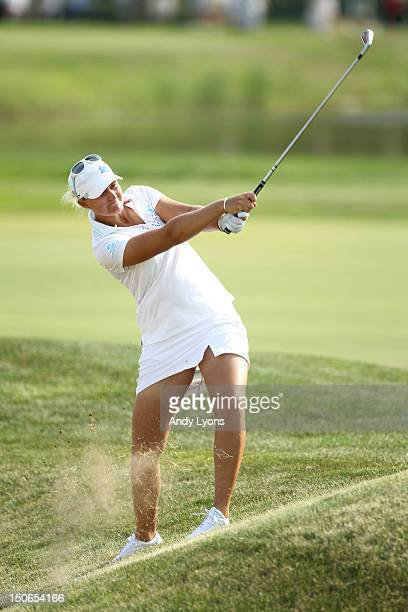 Anna Nordqvist of Sweden hits her second shot on the par 4 18th hole during the second round of the 2012 US Women's Open at Blackwolf Run on July 6...