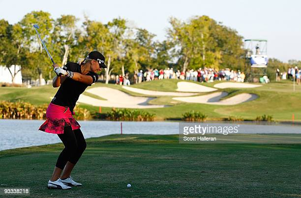 Anna Nordqvist of Sweden hits her tee shot on the 17th hole during the final round of the LPGA Tour Championship presented by Rolex at the Houstonian...