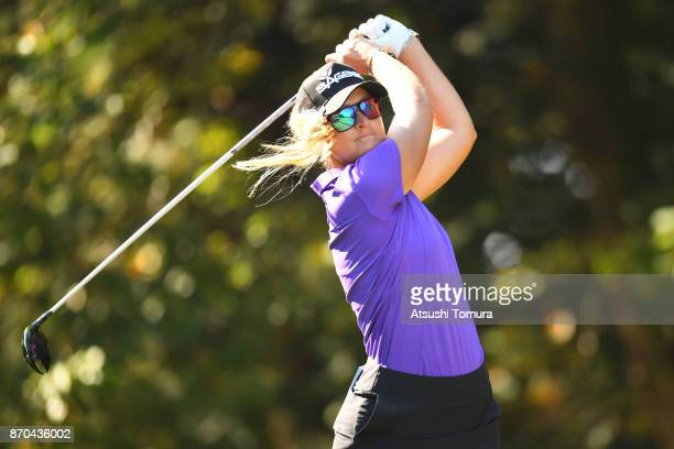 Anna Nordqvist of Sweden hits her tee shot on the 2nd hole during the final round of the TOTO Japan Classics 2017 at the Taiheiyo Club Minori Course...