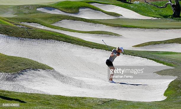 Anna Nordqvist of Sweden hits out of the bunker on the 17th hole during the a three hole playoff against Brittany Lang after the final round of the...