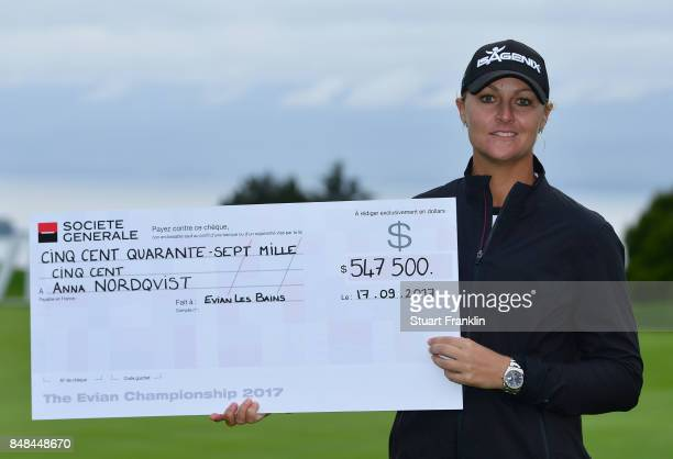 Anna Nordqvist of Sweden holds the winners cheque after winning during the play off after the final round of The Evian Championship at Evian Resort...