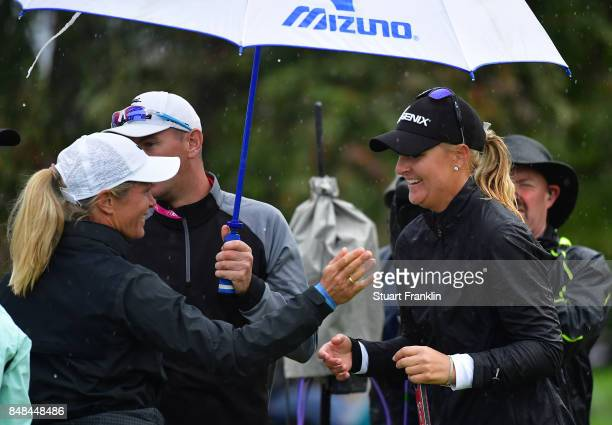Anna Nordqvist of Sweden is congratulated by Suzann Pettersen of Norway after winning during the play off after the final round of The Evian...
