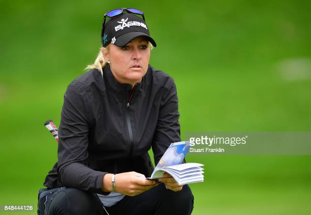 Anna Nordqvist of Sweden lines up a putt during the final round of The Evian Championship at Evian Resort Golf Club on September 17 2017 in...