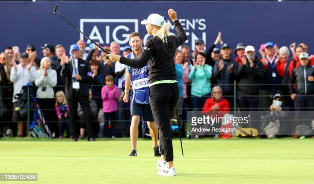 Anna Nordqvist of Sweden on the celebrates 18th green with her caddie during the final round of the AIG Women's Open at Carnoustie Golf Links on...