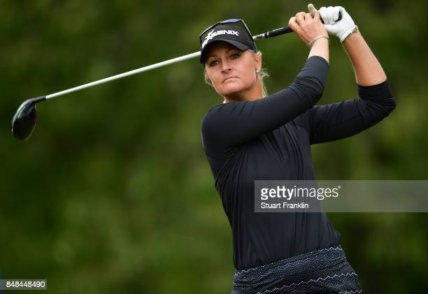 Anna Nordqvist of Sweden plays a shot during the final round of The Evian Championship at Evian Resort Golf Club on September 17 2017 in...