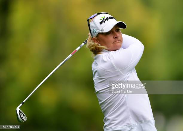 Anna Nordqvist of Sweden plays a shot during the second round of The Evian Championship 2017 at Evian Resort Golf Club on September 16 2017 in...