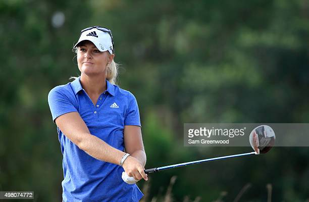 Anna Nordqvist of Sweden plays a shot on the second hole during the second round of the CME Group Tour Championship at Tiburon Golf Club on November...