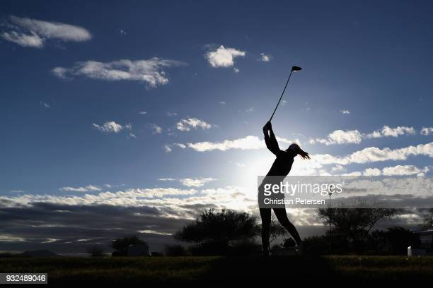 Anna Nordqvist of Sweden plays a tee shot on the 10th hole during the first round of the Bank Of Hope Founders Cup at Wildfire Golf Club on March 15...