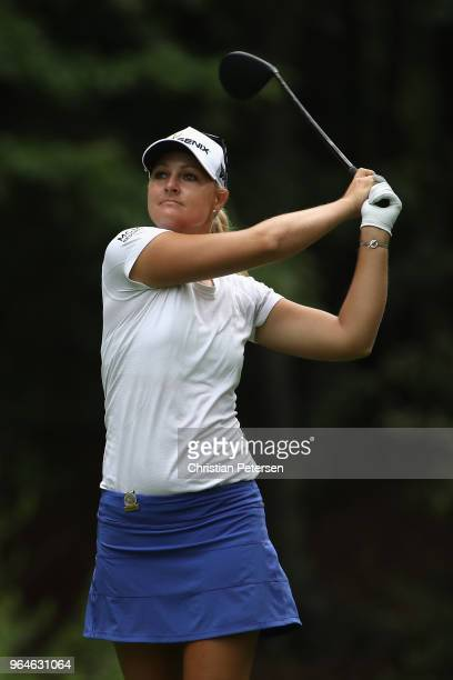 Anna Nordqvist of Sweden plays a tee shot on the 13th hole during the first round of the 2018 US Women's Open at Shoal Creek on May 31 2018 in Shoal...