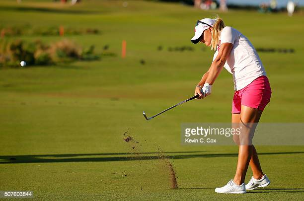 Anna Nordqvist of Sweden plays her second shot on the 16th hole during the third round of the Pure Silk Bahamas LPGA Classic at the Ocean Club Golf...