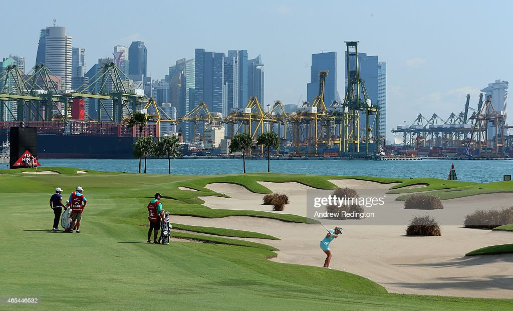 Anna Nordqvist of Sweden plays her second shot on the fifth hole during the third round of the HSBC Women's Champions at Sentosa Golf Club on March 7, 2015 in Singapore, Singapore.