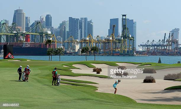 Anna Nordqvist of Sweden plays her second shot on the fifth hole during the third round of the HSBC Women's Champions at Sentosa Golf Club on March 7...