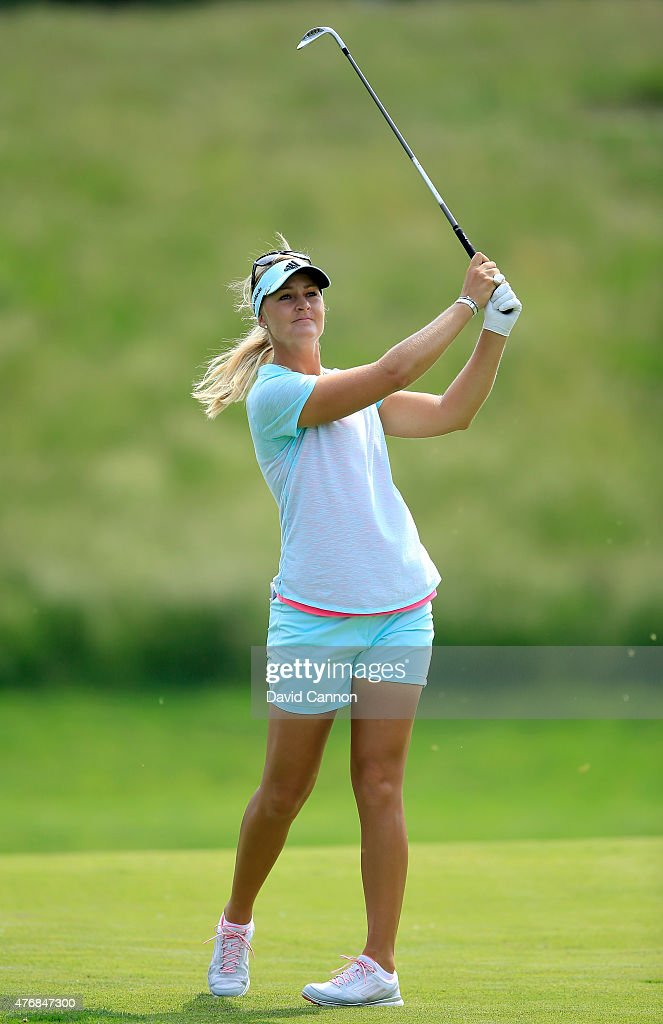 Anna Nordqvist of Sweden plays her second shot on the par 4, 10th hole during the second round of the 2015 KPMG Women's PGA Championship on the West Course at Westchester Country Club on June 12, 2015 in Harrison, New York.