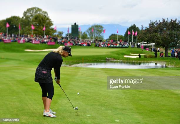 Anna Nordqvist of Sweden plays her shot on the 18th hole during the final round of The Evian Championship at Evian Resort Golf Club on September 17...