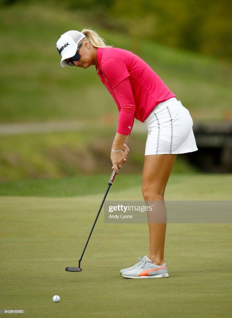 Anna Nordqvist of Sweden putts for par on the 7th hole during the first round of the Indy Women In Tech Championship-Presented By Guggenheim at the Brickyard Crossing Golf Course on September 7, 2017 in Indianapolis, Indiana.