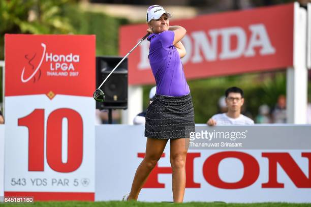Anna Nordqvist of Sweden tee off at 10th hole during the Honda LPGA Thailand at Siam Country Club on February 25 2017 in Chonburi Thailand
