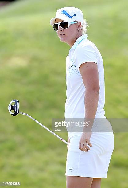 Anna Nordqvist of Sweden watches her shot on the 13th green during the second round of the 2012 US Women's Open on July 6 2012 at Blackwolf Run in...