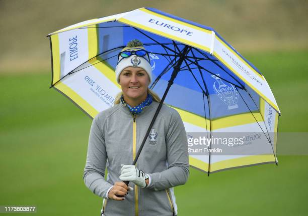 Anna Nordqvist of Team Europe looks happy during a practice round prior to the start of The Solheim Cup at Gleneagles on September 11 2019 in...