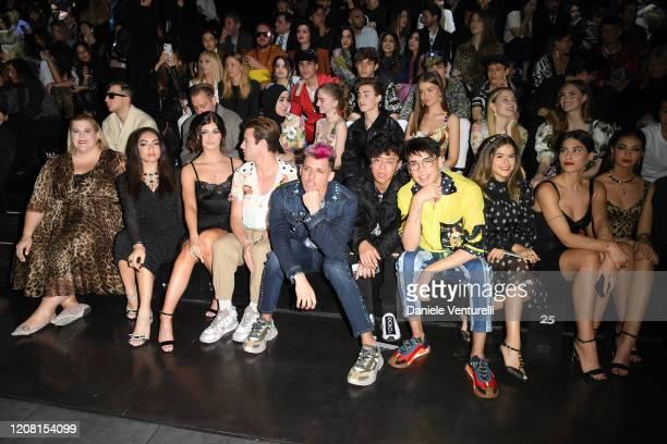 Anna O' Brien, xx, Loren Gray, Cameron Dallas, Maisa Silva, Ludovica Valli and Elisa Maino attend the runway at the Dolce & Gabbana fashion show on...