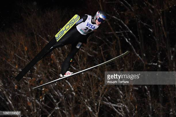Anna Odine Stoem of Norway competes on day one of the FIS Ski Jumping World Cup Ladies Sapporo at Okurayama Jump Stadium on January 12 2019 in...