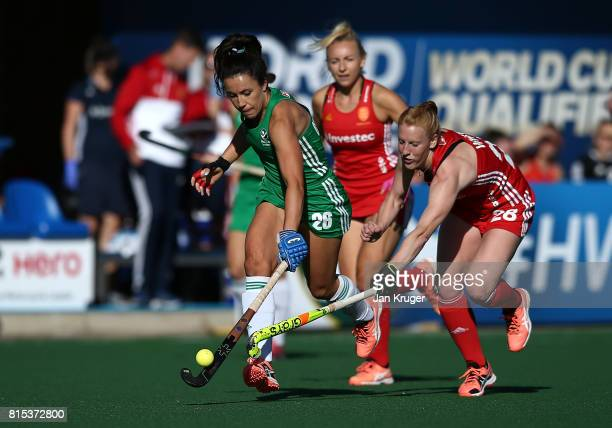 Anna O'Flanagan of Ireland battles with Nicola White of England during day 5 of the FIH Hockey World League Women's Semi Finals Pool A match between...
