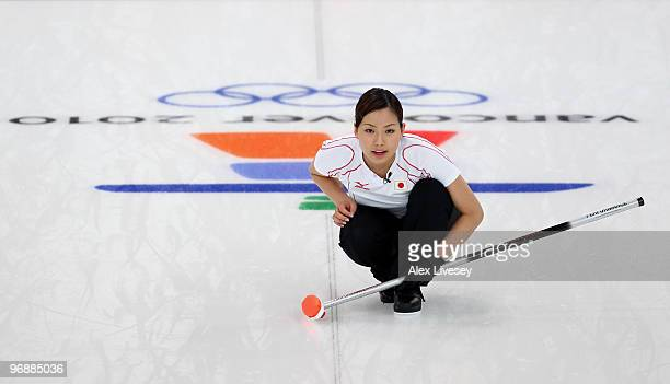 Anna Ohmiya of Japan looks on during the Women's Curling Round Robin match between Great Britain and Japan on day 8 of the Vancouver 2010 Winter...