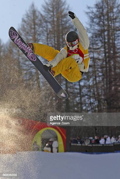 Anna Olofsson of Sweden competes in the Womens Snowboard Half Pipe Final on Day 3 of the 2006 Turin Winter Olympic Games on February 13 2006 in...