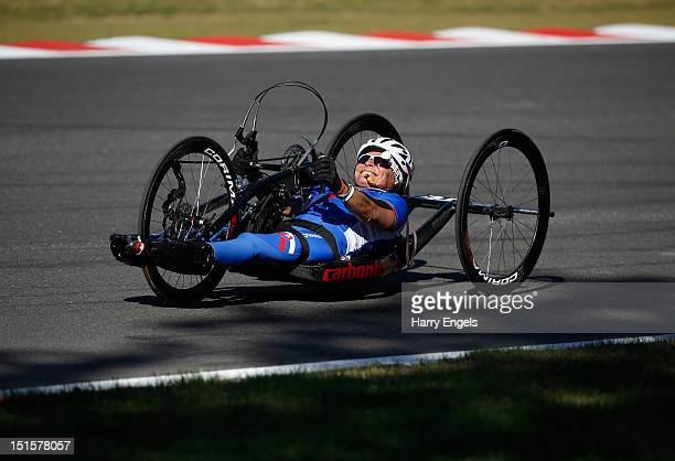 Anna Oroszova of Slovakia rides during the Women's Individual H 1-3 Road Race on day 9 of the London 2012 Paralympic Games at Brands Hatch on...