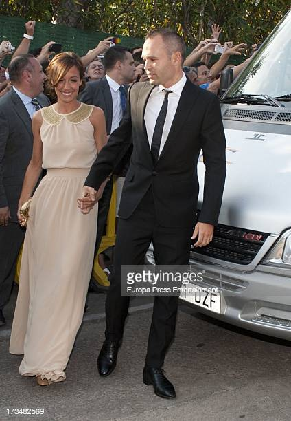 Anna Ortiz and Andres Iniesta attend the wedding of the Barcelona football player Xavi Hernandez and Nuria Cunillera at Marimurtra Botanical Gardens...