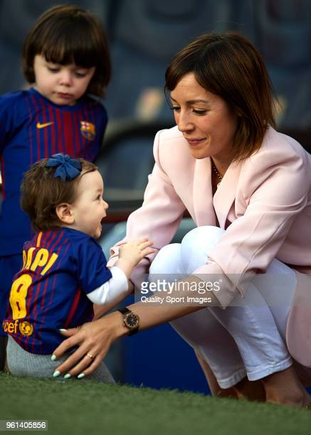 Anna Ortiz wife of Andres Iniesta of FC Barcelona attends the La Liga match between Barcelona and Real Sociedad at Camp Nou on May 20 2018 in...