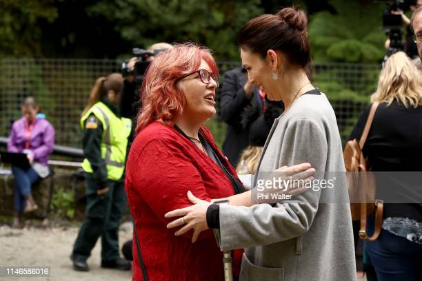 Anna Osborne from the Family Reference Group and Prime Minister Jacinda Ardern embrace at the entrance to the Pike River Mine on May 03 2019 in...