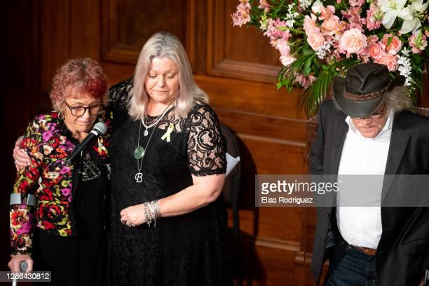 Anna Osborne, Sonya Rockhouse and Rowdy Durbridge read out the names of the people who passed away at the tenth anniversary of Pike River Mine...