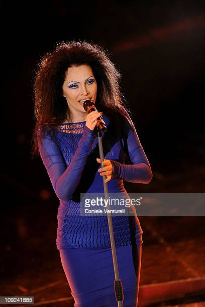 Anna Oxa attends the 61th Sanremo Song Festival at the Ariston Theatre on February 17 2011 in San Remo Italy