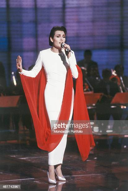 Anna Oxa performing a song on the stage of the Teatro delle Vittorie during the X edition of Fantastico in this occasion the Italian Albanian singer...