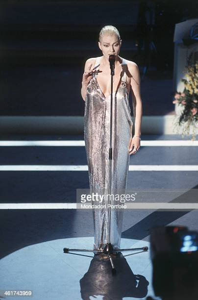 Anna Oxa singing a song on the stage of the Teatro Ariston during the XLIV edition of the Sanremo Music Festival on this occasion the Italian...